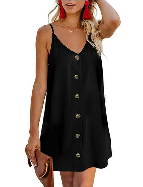 Дамска ежедневна секси плажна рокля без ръкави с V-деколте и копчета